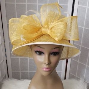 Accessories - Yellow and white dress hat